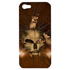 Awesome Skull With Rat On Vintage Background Apple Iphone 5 Hardshell Case by FantasyWorld7
