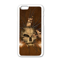 Awesome Skull With Rat On Vintage Background Apple Iphone 6/6s White Enamel Case