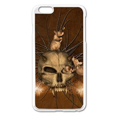 Awesome Skull With Rat On Vintage Background Apple Iphone 6 Plus/6s Plus Enamel White Case by FantasyWorld7