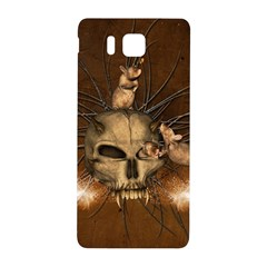 Awesome Skull With Rat On Vintage Background Samsung Galaxy Alpha Hardshell Back Case by FantasyWorld7