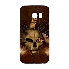Awesome Skull With Rat On Vintage Background Galaxy S6 Edge by FantasyWorld7