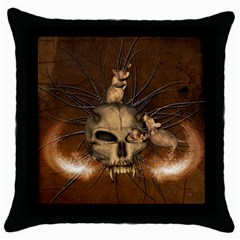 Awesome Skull With Rat On Vintage Background Throw Pillow Case (black) by FantasyWorld7