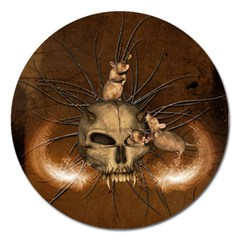 Awesome Skull With Rat On Vintage Background Magnet 5  (round) by FantasyWorld7