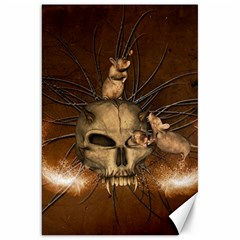 Awesome Skull With Rat On Vintage Background Canvas 20  X 30   by FantasyWorld7