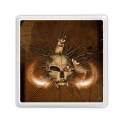 Awesome Skull With Rat On Vintage Background Memory Card Reader (square)  by FantasyWorld7