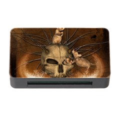 Awesome Skull With Rat On Vintage Background Memory Card Reader With Cf by FantasyWorld7