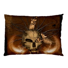 Awesome Skull With Rat On Vintage Background Pillow Case (two Sides) by FantasyWorld7