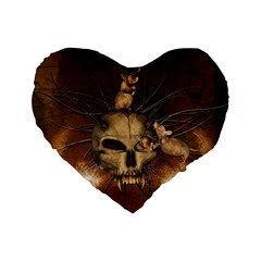 Awesome Skull With Rat On Vintage Background Standard 16  Premium Flano Heart Shape Cushions by FantasyWorld7