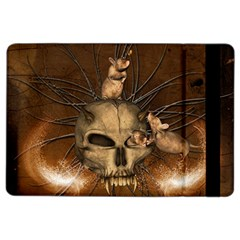 Awesome Skull With Rat On Vintage Background Ipad Air 2 Flip by FantasyWorld7