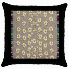 Star Fall Of Fantasy Flowers On Pearl Lace Throw Pillow Case (black) by pepitasart