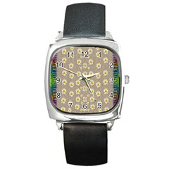 Star Fall Of Fantasy Flowers On Pearl Lace Square Metal Watch by pepitasart