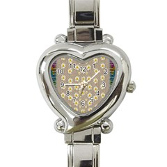 Star Fall Of Fantasy Flowers On Pearl Lace Heart Italian Charm Watch by pepitasart