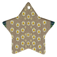 Star Fall Of Fantasy Flowers On Pearl Lace Star Ornament (two Sides) by pepitasart
