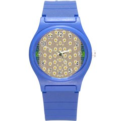 Star Fall Of Fantasy Flowers On Pearl Lace Round Plastic Sport Watch (s) by pepitasart