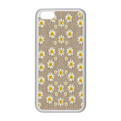 Star Fall Of Fantasy Flowers On Pearl Lace Apple Iphone 5c Seamless Case (white) by pepitasart