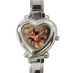 Awesome Horse  With Skull In Red Colors Heart Italian Charm Watch by FantasyWorld7