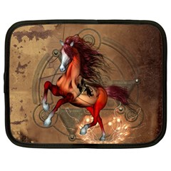 Awesome Horse  With Skull In Red Colors Netbook Case (large) by FantasyWorld7