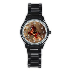 Awesome Horse  With Skull In Red Colors Stainless Steel Round Watch by FantasyWorld7
