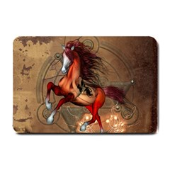 Awesome Horse  With Skull In Red Colors Small Doormat  by FantasyWorld7