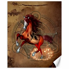 Awesome Horse  With Skull In Red Colors Canvas 11  X 14