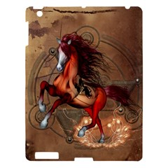 Awesome Horse  With Skull In Red Colors Apple Ipad 3/4 Hardshell Case by FantasyWorld7