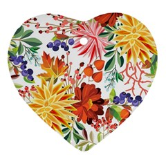 Autumn Flowers Pattern 1 Ornament (heart) by tarastyle