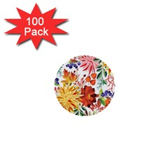 Autumn Flowers Pattern 1 1  Mini Buttons (100 Pack)  by tarastyle