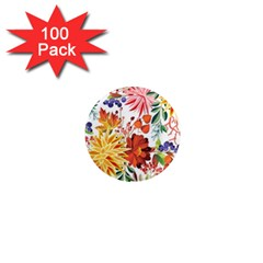 Autumn Flowers Pattern 1 1  Mini Magnets (100 Pack)  by tarastyle