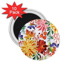 Autumn Flowers Pattern 1 2 25  Magnets (10 Pack)  by tarastyle