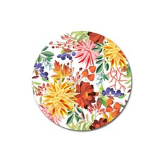 Autumn Flowers Pattern 1 Magnet 3  (round) by tarastyle
