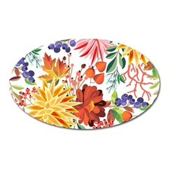 Autumn Flowers Pattern 1 Oval Magnet by tarastyle