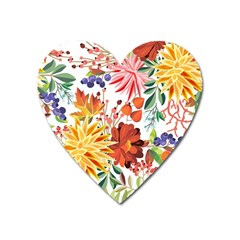 Autumn Flowers Pattern 1 Heart Magnet by tarastyle