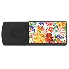 Autumn Flowers Pattern 1 Rectangular Usb Flash Drive by tarastyle
