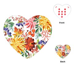 Autumn Flowers Pattern 1 Playing Cards (heart)  by tarastyle