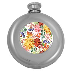 Autumn Flowers Pattern 1 Round Hip Flask (5 Oz) by tarastyle