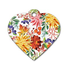 Autumn Flowers Pattern 1 Dog Tag Heart (two Sides) by tarastyle