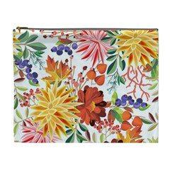 Autumn Flowers Pattern 1 Cosmetic Bag (xl) by tarastyle