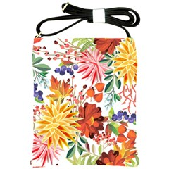 Autumn Flowers Pattern 1 Shoulder Sling Bags by tarastyle