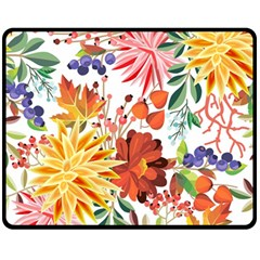Autumn Flowers Pattern 1 Fleece Blanket (medium)  by tarastyle