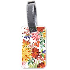Autumn Flowers Pattern 1 Luggage Tags (two Sides) by tarastyle