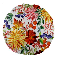 Autumn Flowers Pattern 1 Large 18  Premium Round Cushions by tarastyle