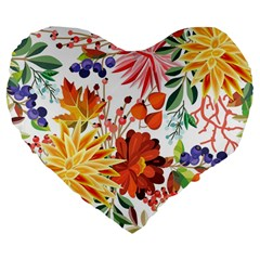 Autumn Flowers Pattern 1 Large 19  Premium Flano Heart Shape Cushions by tarastyle