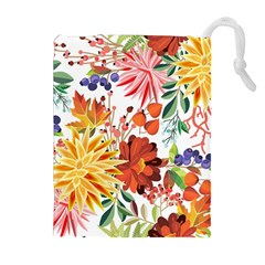 Autumn Flowers Pattern 1 Drawstring Pouches (extra Large) by tarastyle