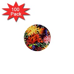 Autumn Flowers Pattern 2 1  Mini Buttons (100 Pack)  by tarastyle