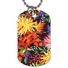 Autumn Flowers Pattern 2 Dog Tag (one Side) by tarastyle