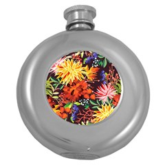 Autumn Flowers Pattern 2 Round Hip Flask (5 Oz) by tarastyle