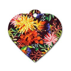 Autumn Flowers Pattern 2 Dog Tag Heart (two Sides) by tarastyle
