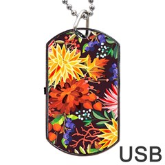 Autumn Flowers Pattern 2 Dog Tag Usb Flash (two Sides) by tarastyle
