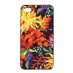Autumn Flowers Pattern 2 Apple Iphone 4/4s Seamless Case (black) by tarastyle
