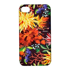 Autumn Flowers Pattern 2 Apple Iphone 4/4s Hardshell Case With Stand by tarastyle